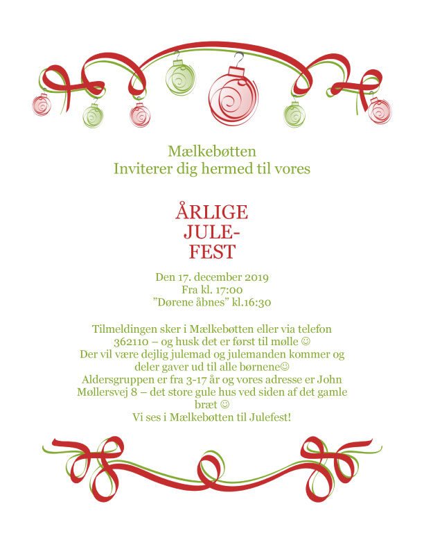Invitation til Julefest